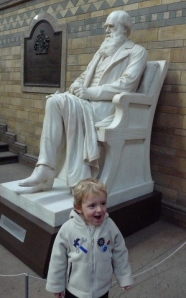 A Photo of my son Iestyn at the Statue of Darwin erected for this celebratory year at the Natural History Museum, London. I hope he will remain endlessly curious.